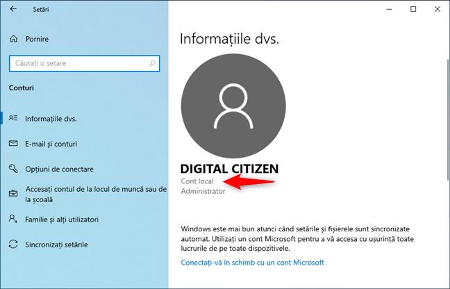 Un cont local în Windows 10