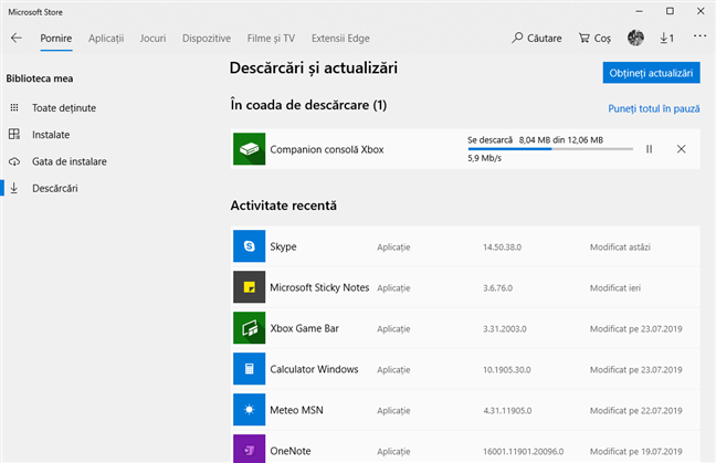 Descărcarea de actualizări pentru aplicații și jocuri pentru Windows 10