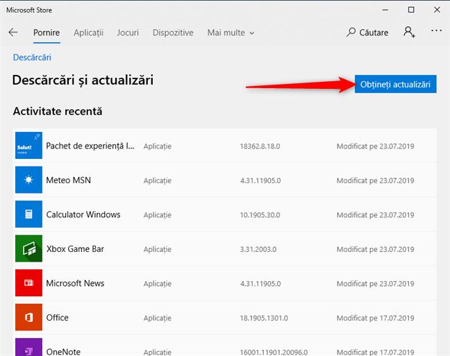 Apasă pe Obțineți actualizări în Microsoft Store