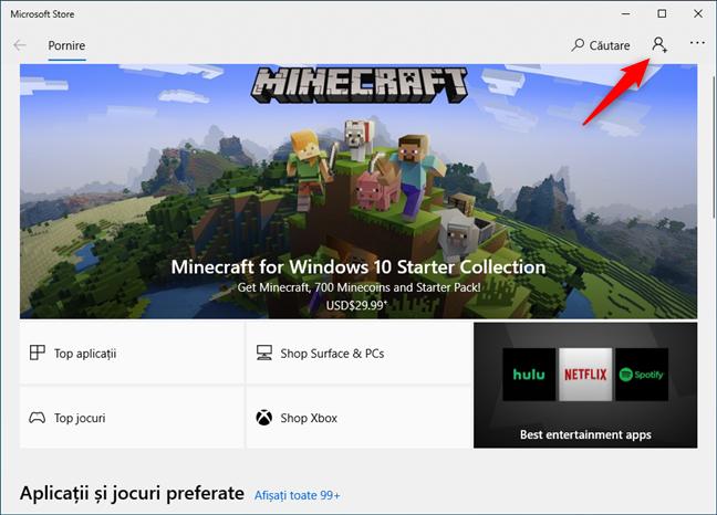 Utilizarea Microsoft Store cu un cont local