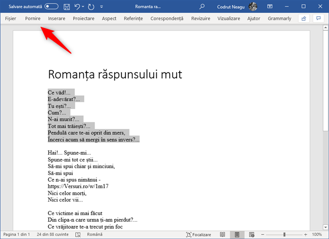 Selectare text și deschiderea filei Pornire din Microsoft Word