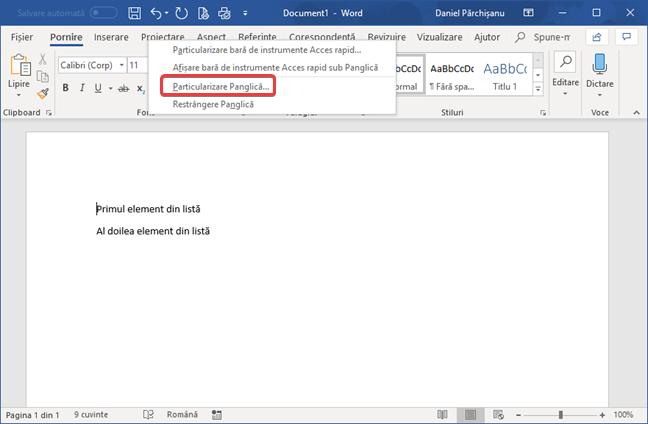 Particularizare Panglică în Microsoft Word