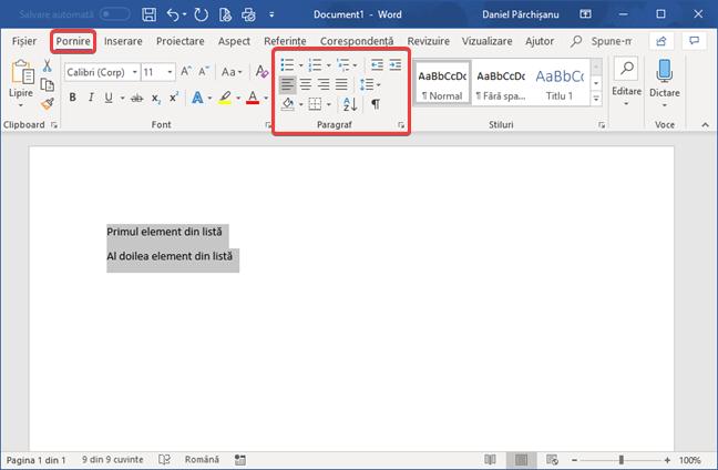 Secțiunea Paragraf de pe fila Pornire din Microsoft Word