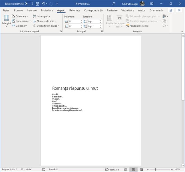 Text ce a fost aliniat central pe verticală, în Microsoft Word
