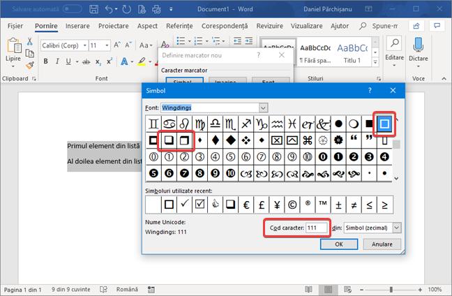 Selectează caracterul folosit ca simbol marcator în Microsoft Word