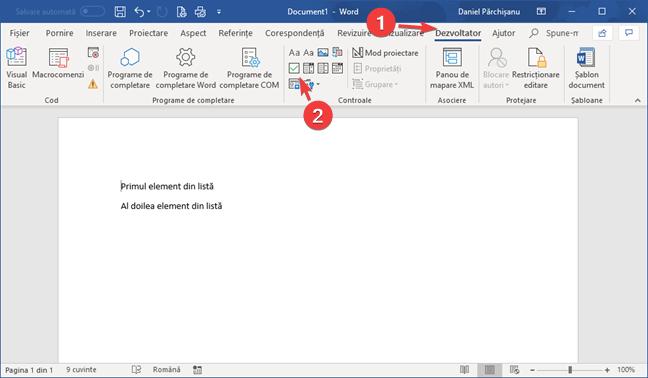 Inserează un control de conținut casetă de selectare în Microsoft Word