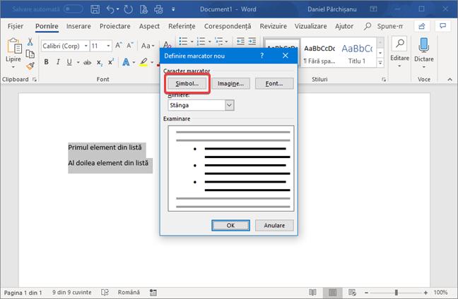 Definire marcator nou în Microsoft Word