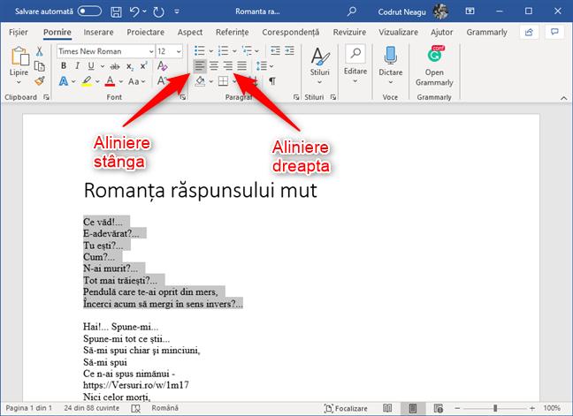 Butoanele Aliniere la stânga și Aliniere la dreapta din Microsoft Word