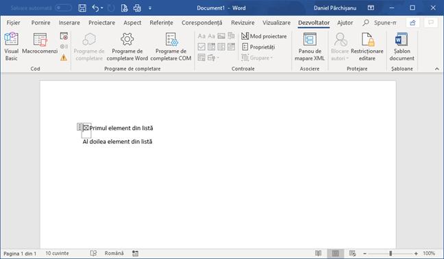 Casetă de selectare în Microsoft Word