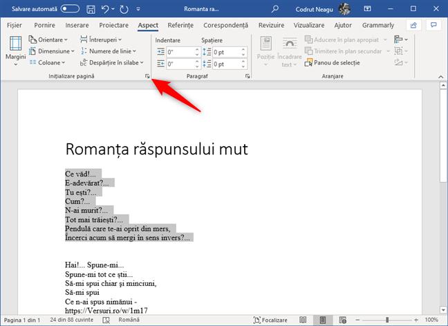 Butonul Inițializare pagină din secțiunea Inițializare pagină din Word