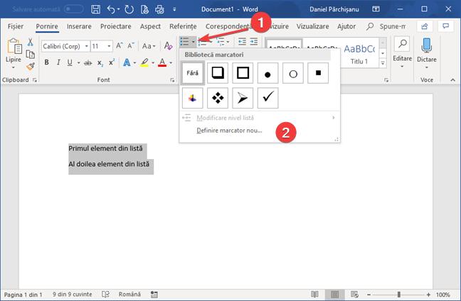 Meniul Marcatori în Microsoft Word