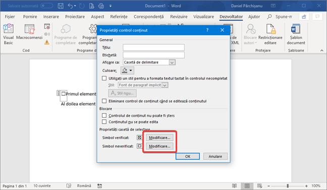Schimbă simbolul verificat sau neverificat pentru Control conținut casetă de selectare