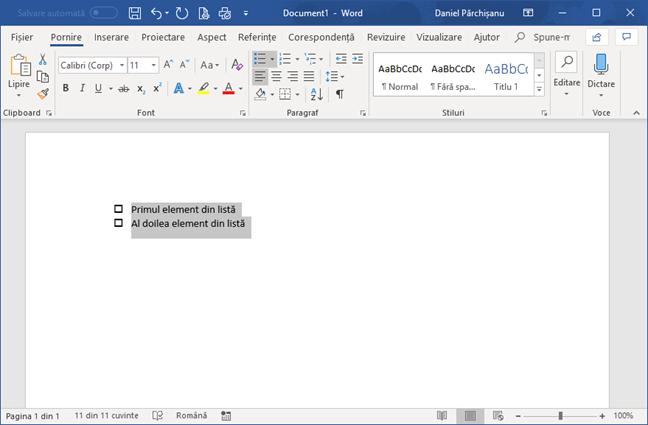 Listă de verificare în Microsoft Word
