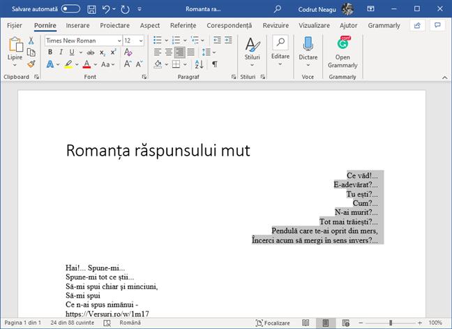 Textul a fost aliniat la dreapta în Microsoft Word