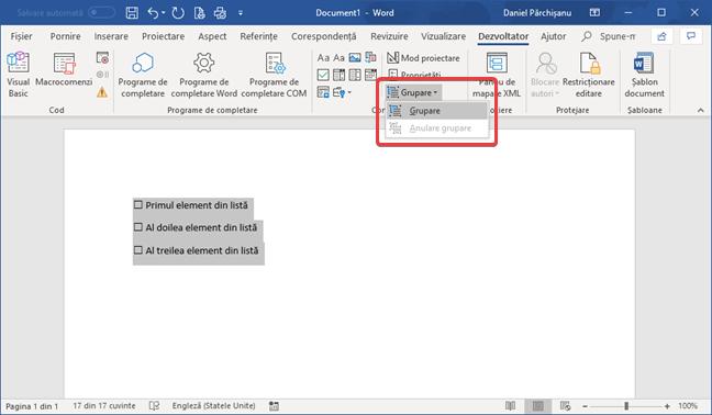 Grupează o listă de verificare creată folosind Control conținut casetă de selectare