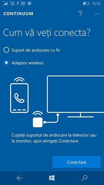 Windows 10 Mobile, proiecteaza, imagine, ecran, wireless, Miracast
