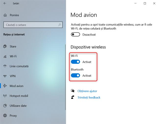 Activează sau dezactivează individual Wi-Fi și Bluetooth