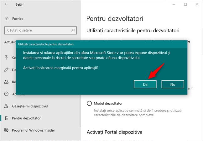 Confirmarea activării instalării suplimentare de aplicații