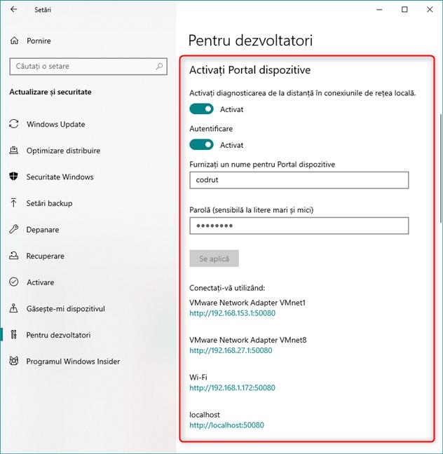 Activarea funcției Portal dispozitive în Windows 10