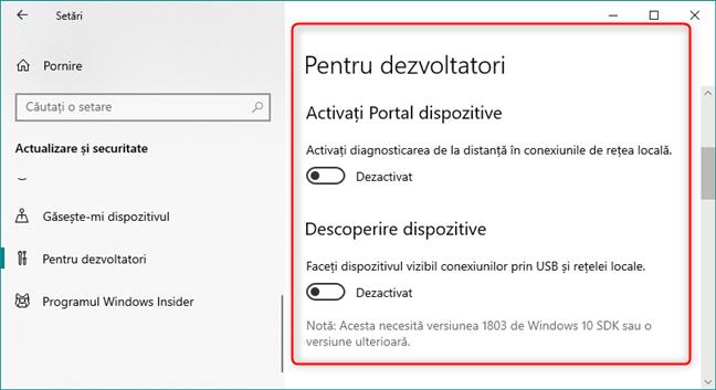 Portal dispozitive și Descoperire dispozitive