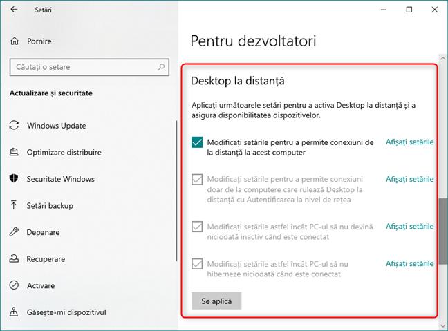 Acces facil la setările Desktop la distanță, setări ce pot fi utile pentru programatori