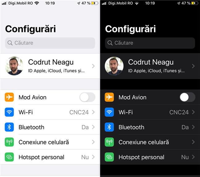 Aplicația Configurări de pe un iPhone, folosind modul luminos versus modul întunecat