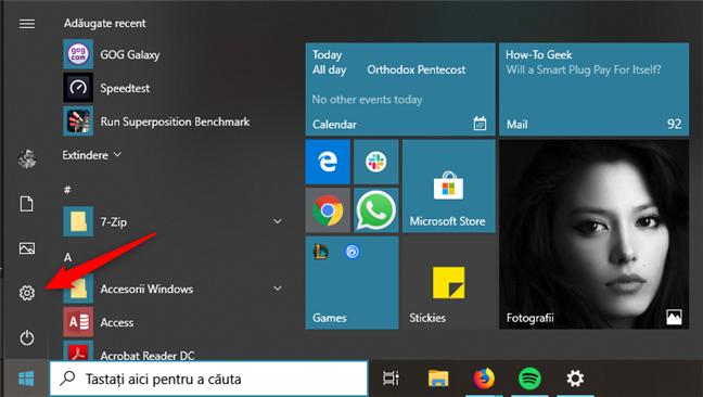 Deschiderea Setărilor din Windows 10