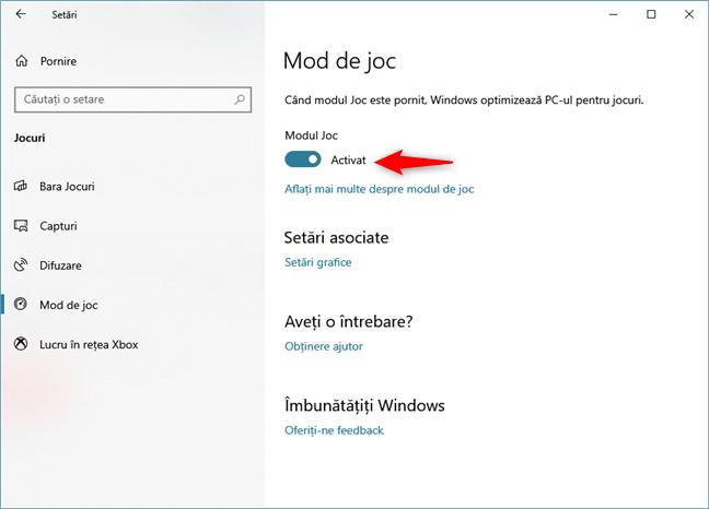 Comutatorul Modul Joc din aplicația Setări din Windows 10