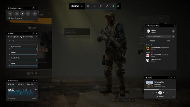 Widget-urile Xbox Game Bar afișate într-un joc