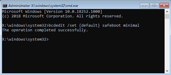 Activarea Safe Mode din Command Prompt