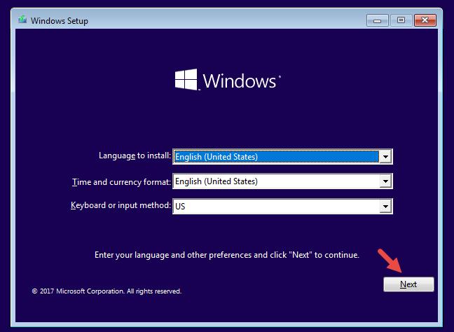 Instalarea de Windows 10