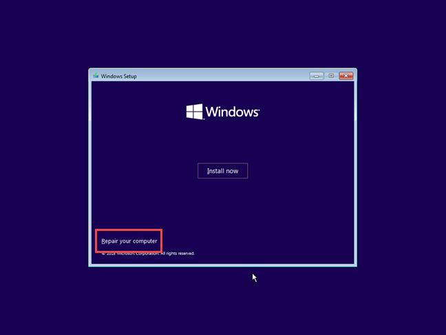 Repararea Windows 10
