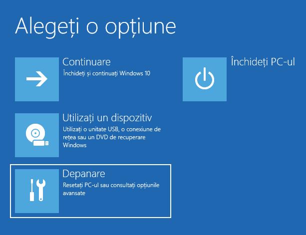 Depanarea Windows 10