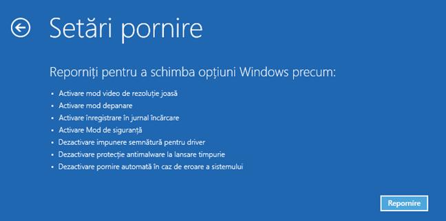 Setările de pornire disponibile pentru Windows 10