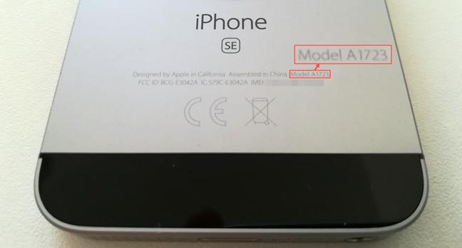 Numărul de model scris pe spatele unui iPhone