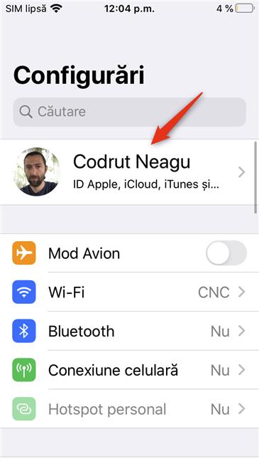 ID-ul Apple din pagina de Configurări de pe un iPhone