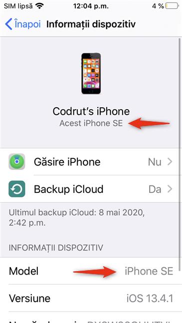 Modelul de iPhone afișat pe ecranul Informații dispozitiv