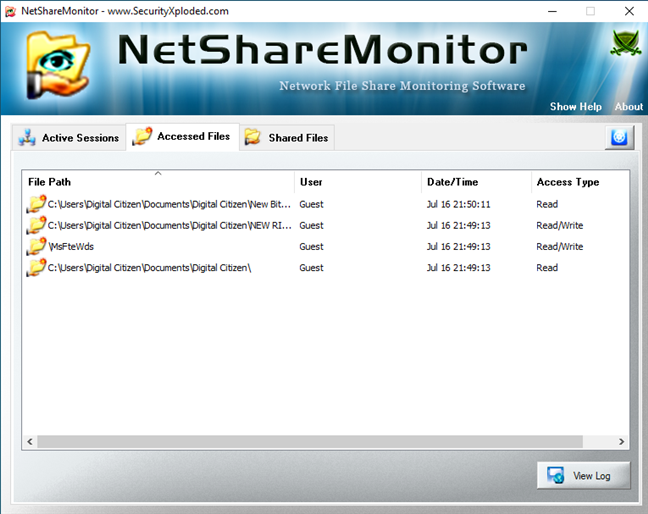 Lista Accessed Files (Fișiere Aaccesate) din NetShareMonitor