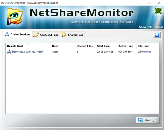 Lista Active Sessions (Sesiuni Active) din NetShareMonitor