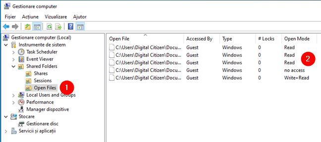 Lista Open Files din Gestionare computer