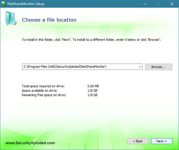 Selectarea locației de instalare pentru NetShareMonitor