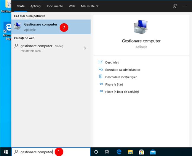 Deschidere Gestionare computer în Windows 10