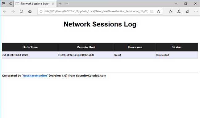 NetShareMonitor: Network sessions Log (Jurnal sesiuni rețea)