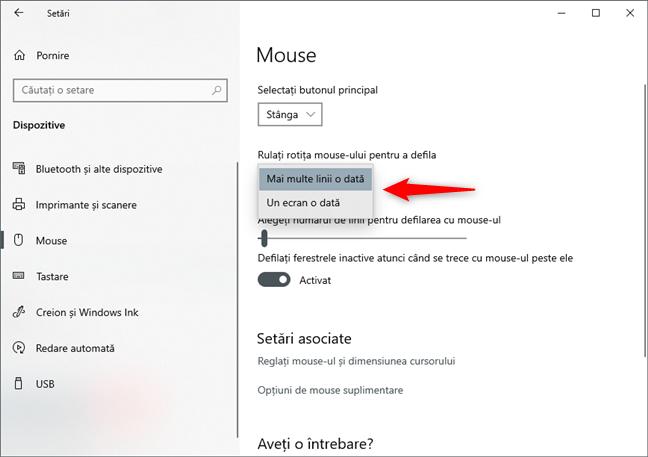Modificarea tipului de derulare a rotiței mouse-ului: mai multe linii sau un ecran o dată
