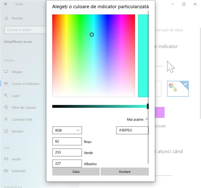 Introdu codul pentru o culoare de indicator particularizată