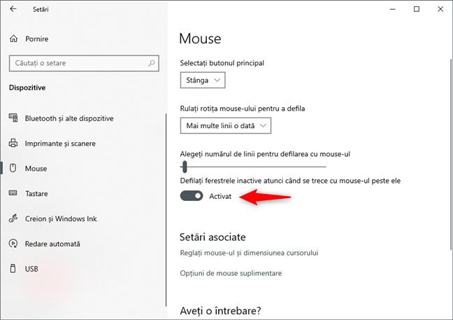 Configurarea rotiței mouse-ului pentru a derula atunci când ții cursorul deasupra unei ferestre inactive