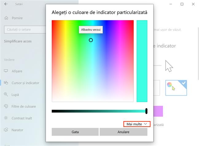 Alege o culoare particularizată pentru indicatorul tău de mouse