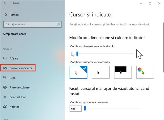 Setările pentru cursor și indicator din Windows 10