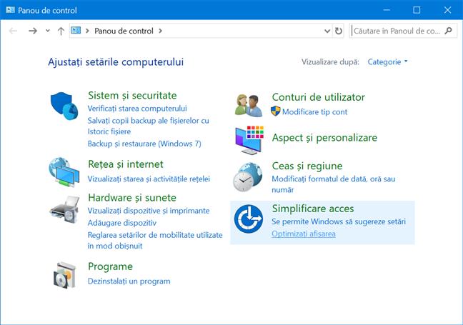 Panoul de Control din Windows 10