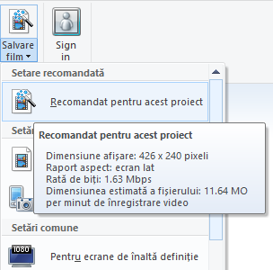 Windows, Movie Maker, salveaza video, film, proiect, exporta